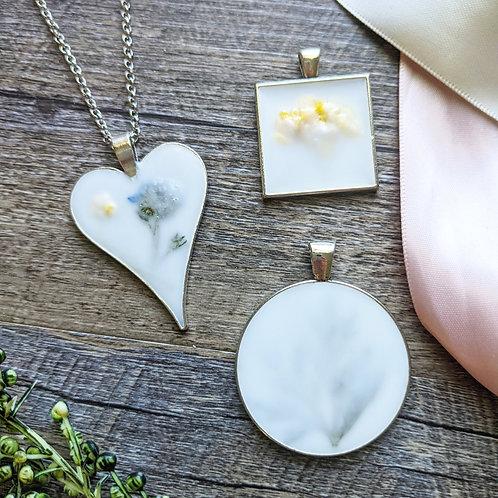 Milk Glass & Pressed Flower Necklace
