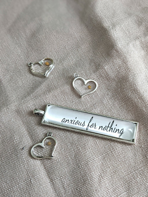 Anxious For Nothing Bar Necklace with Mustard Seed Heart Charm