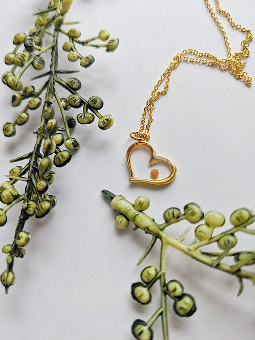 Mustard Seed Heart Necklace - Gold