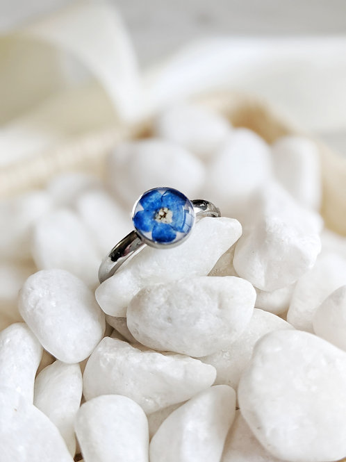 Pressed Forget-Me-Not Stainless Steel Ring -  Size 9