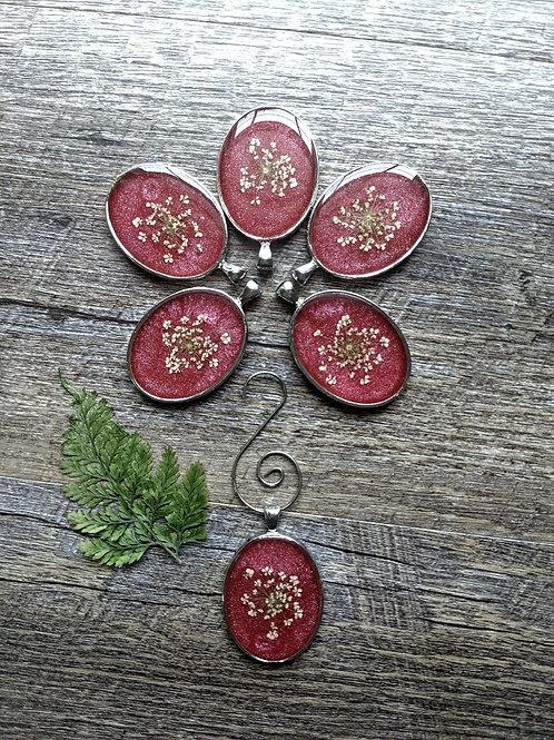 Cranberry Lace Christmas Ornament