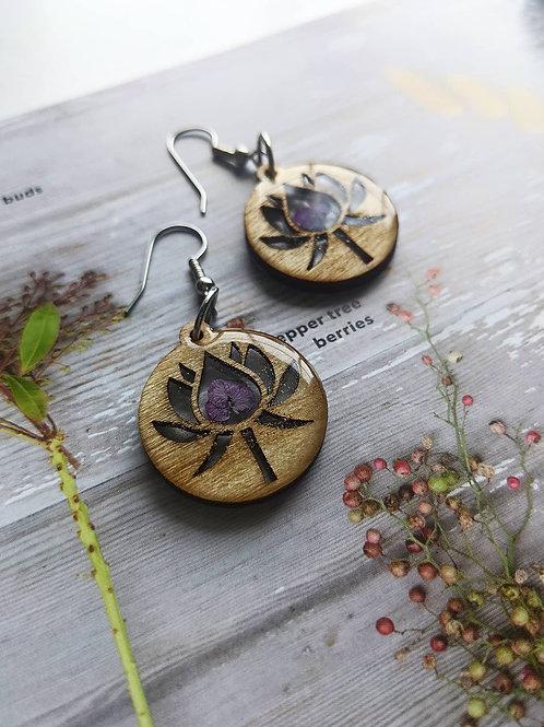 Lotus Flower Wooden Earrings