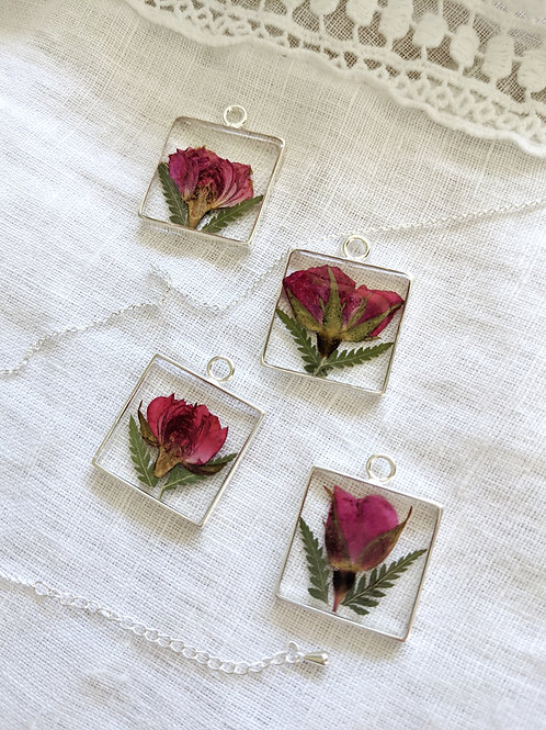 Pressed Red Rose and Fern Necklace
