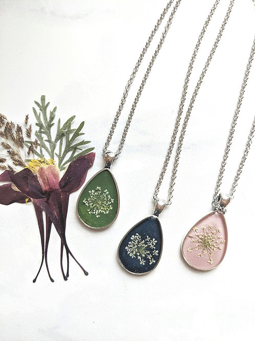 Pressed Queen Anne's Lace Hand-Painted Teardrop Pendant