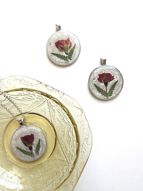 Pressed Rose & Fern & Mustard Seed Necklace