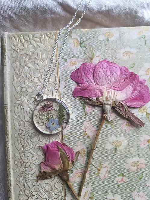Flower Garden Round Sterling Silver Filled Necklace