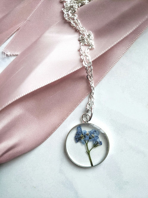 Full Forget-Me-Not Silver Round Pendant