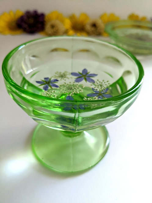 Vintage Depression Glass Floral Resin Jewelry Dish - Green