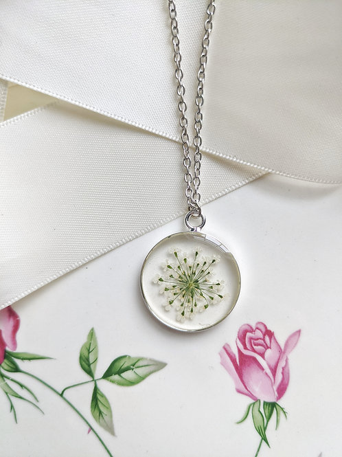 Pressed Queen Anne's Lace Silver Round Pendant