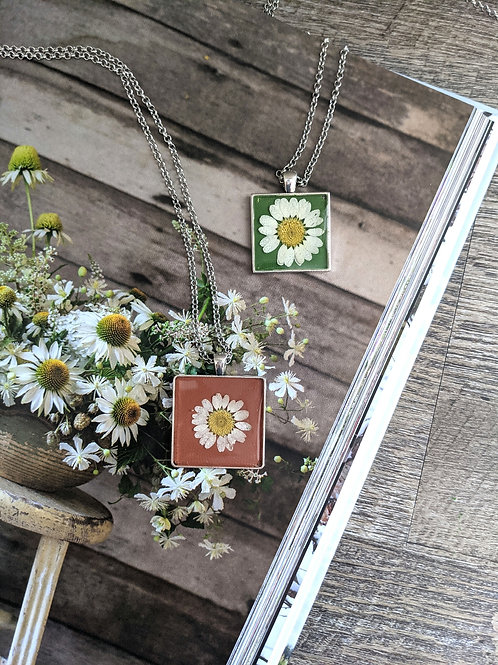 Daisy Hand-Painted Square Pendant