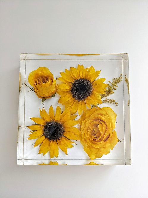 Sunflower & Yellow Roses Resin Art