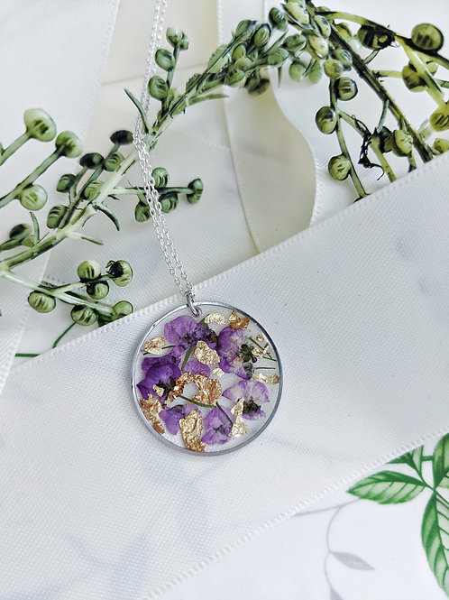 Purple Alyssum & Gold Flakes Pendant