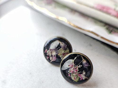 Pressed Garden Flower Antique Bronze Earrings