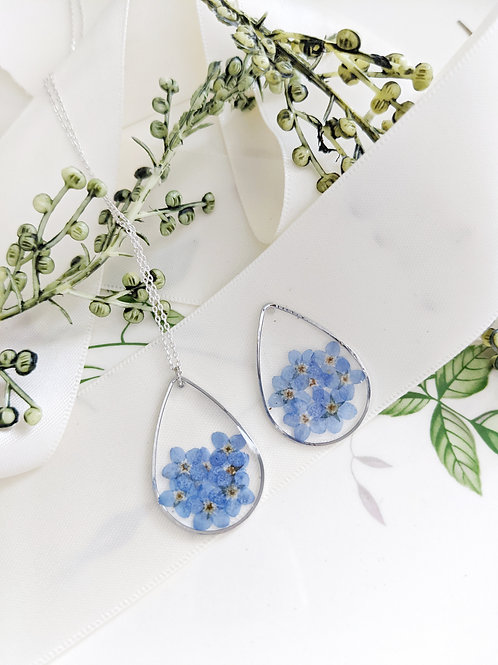 Silver Teardrop Forget-Me-Not Necklace