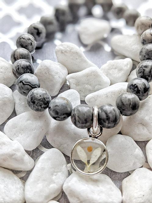 "Landscape Gemstone Bead Bracelet with ""Angel"" Daisy Petal/Mustard Seed Charm"