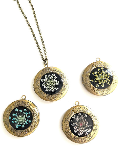 Pressed Queen Anne's Lace Lockets