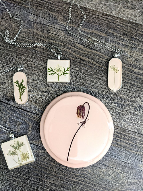 Hand-Painted Meadow Flower Pendants