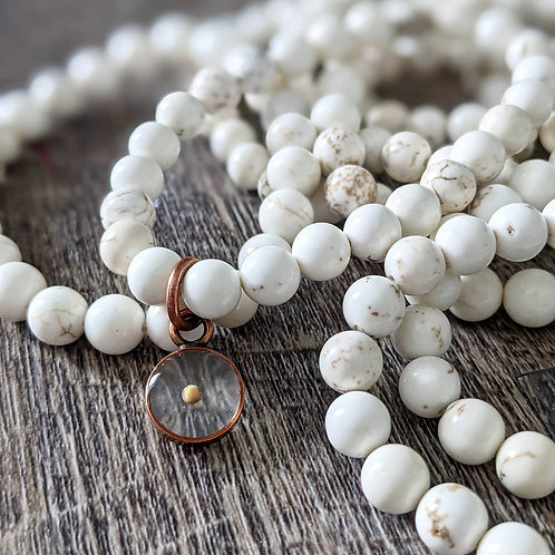White Howlite Bead Bracelet with Copper Mustard Seed Charm