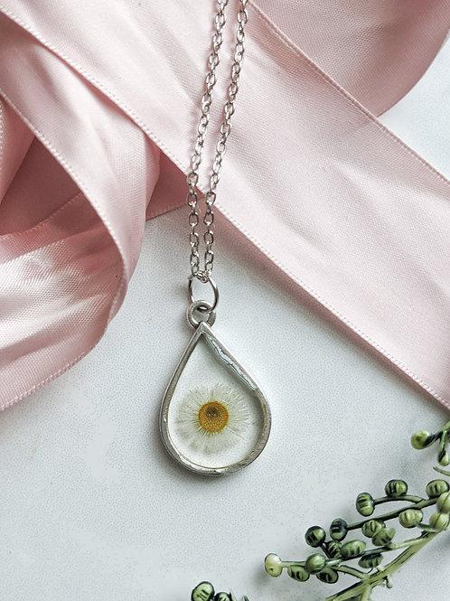 Mini Daisy Silver Teardrop Pendant