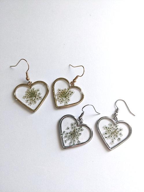 Queen Anne's Lace Heart Earrings