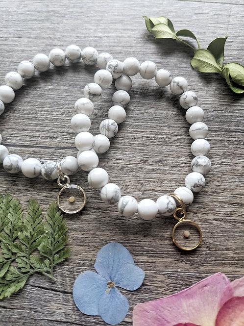White Turquoise Gemstone Mustard Seed Bracelet