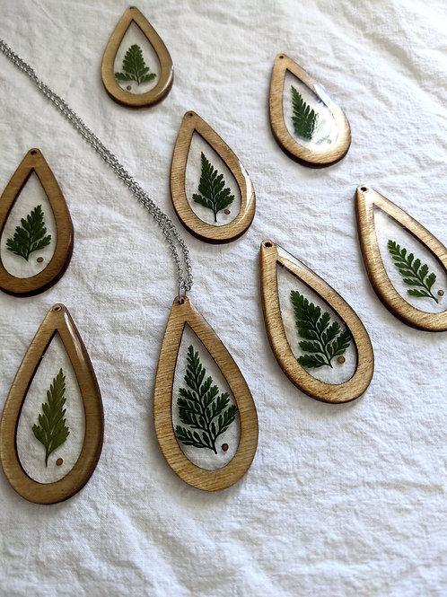 Pressed Fern & Mustard Seed Wood Framed Teardrop Necklace