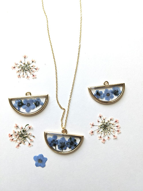 Real Pressed Forget-Me-Not Half-Circle Necklace