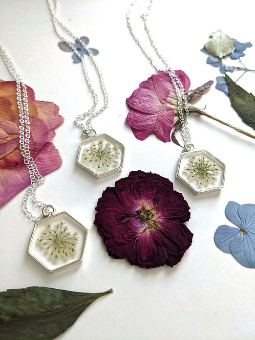 Queen Anne's Lace Hexagon Necklace - Sterling Silver Filled
