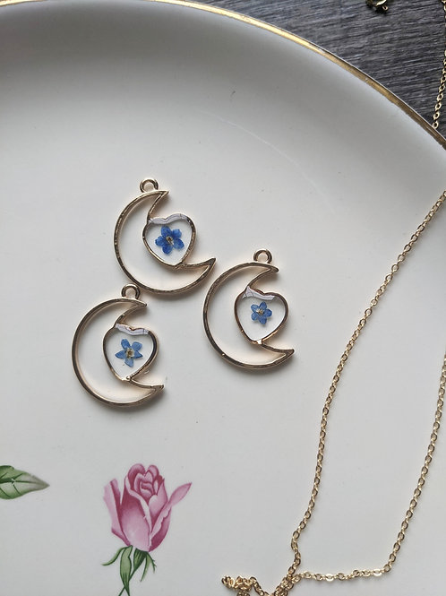 Forget-Me-Not Half-Moon & Heart Necklace
