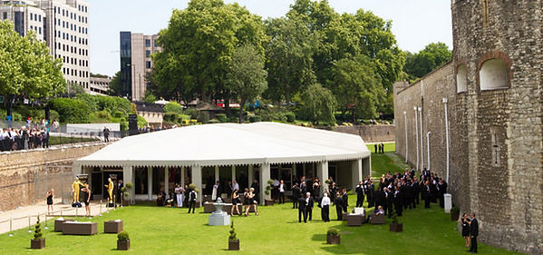 Tower of London, marquee event with guests.