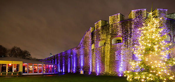 Tower of London, coloured lighting at night, music event.