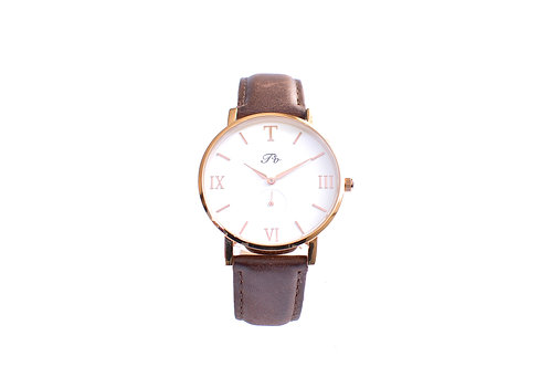 Rose Gold (Brown Leather)