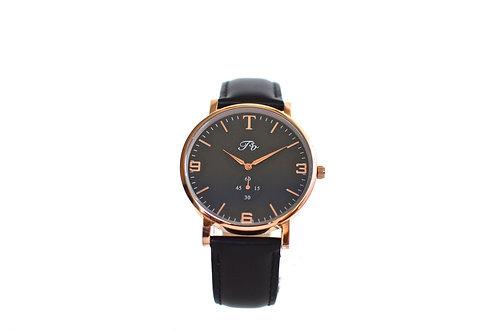 Rose Gold (Black Leather)