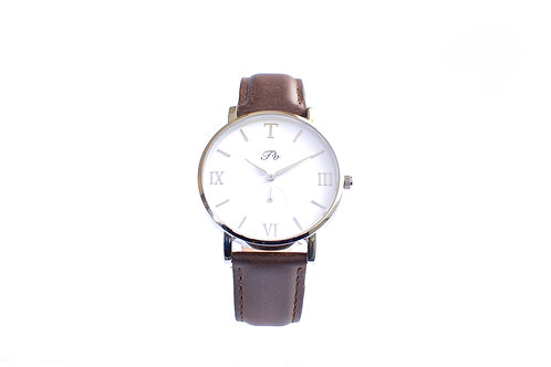 Silver (Brown Leather)