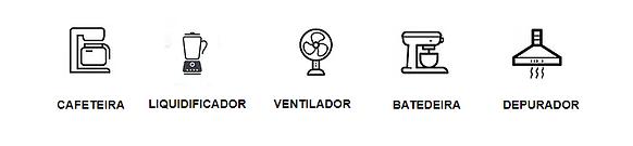 ícones de eletrodomésticos cafeteira, liquidificador, ventilador que podem ser automatizados.