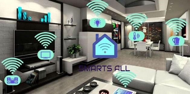 sala de estar com projeto de Automação residencial, casas conectadas e logo da SMARTS ALL no meio.