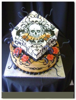 pg-4-number-12-two-tier-square-on-round-black-scroll-roses-skull-ochre-tan-yello