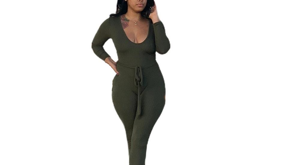 Foxy Olive Jumpsuit