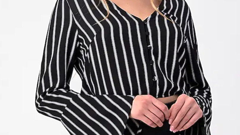 Juno Button Down Long Sleeve Striped Crop Top
