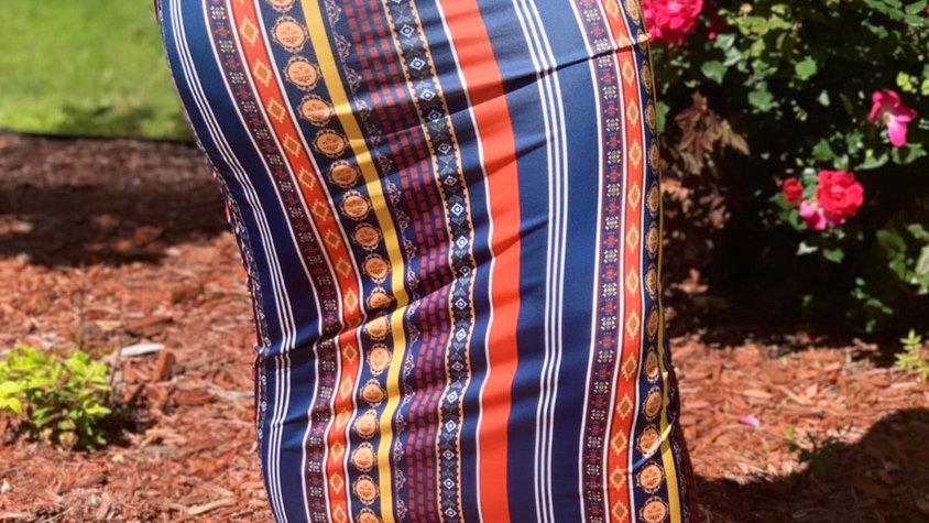 Stripe Fitted Maxi Dress