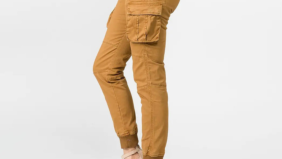 PLUS SIZE CARGO POCKET JOGGERS WITH DRAWSTRINGS