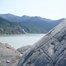Glacially polished bedrock