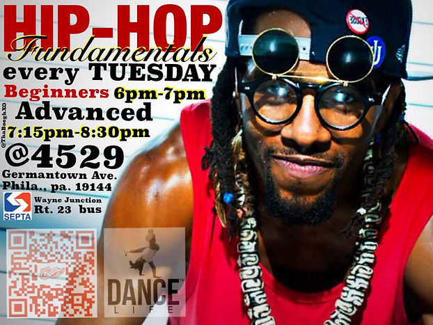 Every Tuesday i am teach the fundamentals of HipHop at Dance Life Studios 4529 Germantow ave. 3rd. flr.  Philadelphia, Pa. 19144