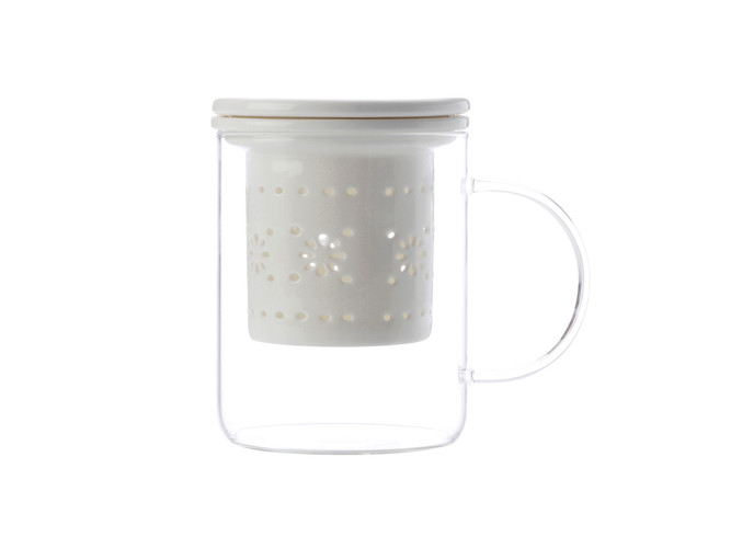 Lille Glass Mug with infuser 350ML White