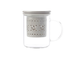 Lille Glass Mug with infuser 350ML Grey