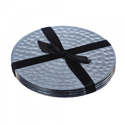 Just Slate Flat Hammered Stainless Steel Coasters (4 pieces)