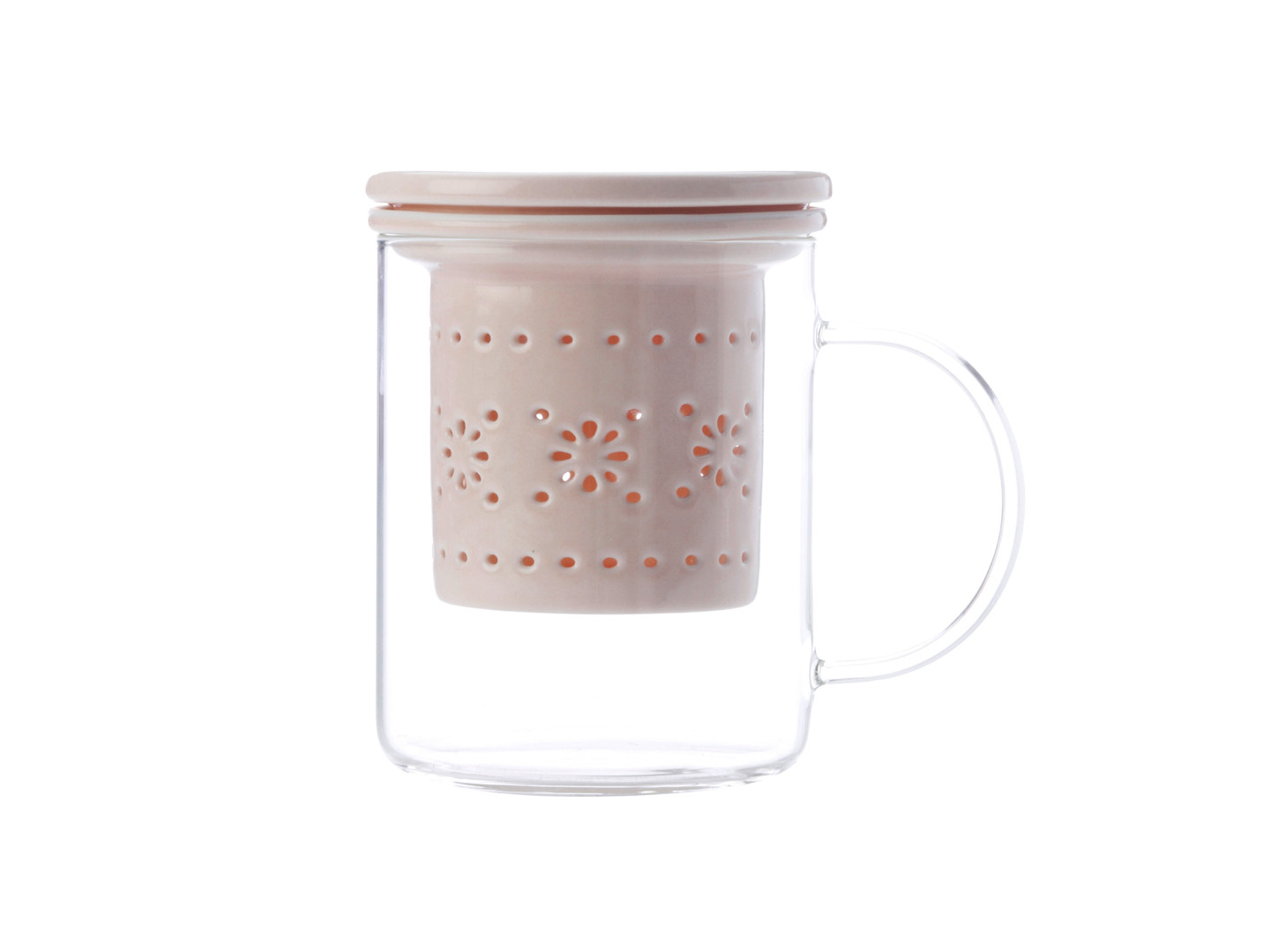 Lille Glass Mug with infuser 350ML Pink