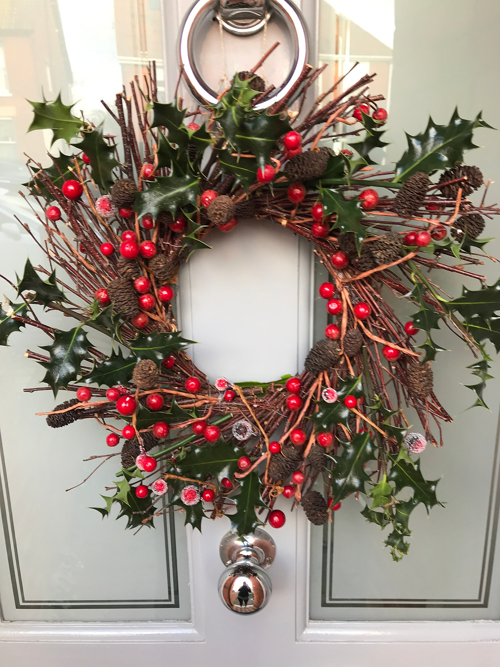 Natural Christmas wreath festive holly berries holidays