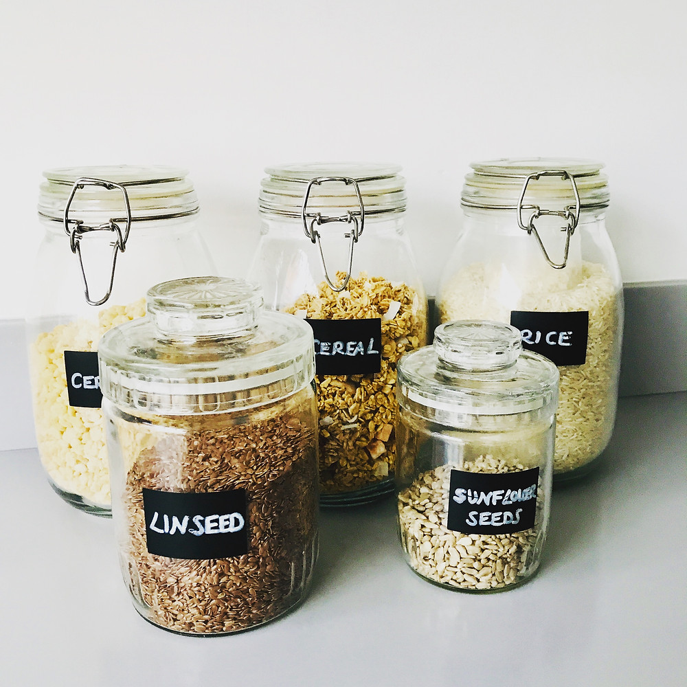 glass jars pantry larder seeds nuts pasta rice