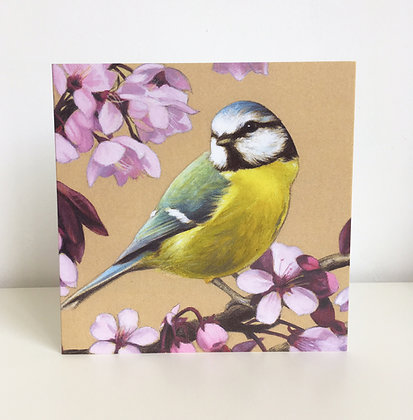 'Blue Tit and Cherry Blossom' Greeting Card